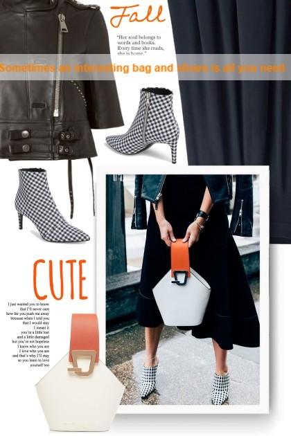 Sometimes an interesting bag and shoes is all you - combinação de moda