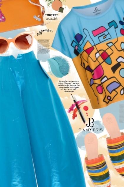 Colorful Abstract Print Boxy T-Shirt - Fashion set