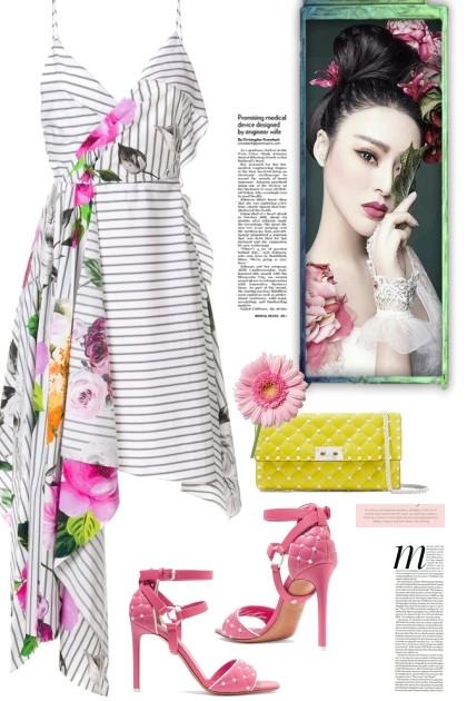 OFF-WHITE floral sleeveless dress - Modna kombinacija