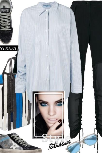 PRADA oversized striped shirt- Fashion set