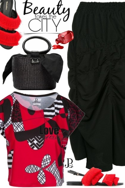 Cropped Graphic Red Black Tee - Fashion set