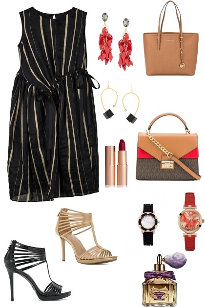 BLACK AND GOLD STRIPE WORK WEAR- Fashion set