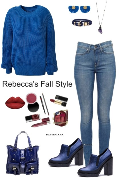 Blue Fall Style- combinação de moda