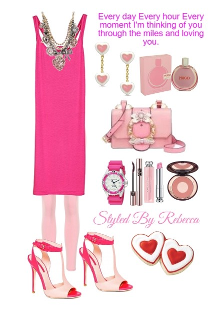 Casual Valentine Style in Pink- Fashion set