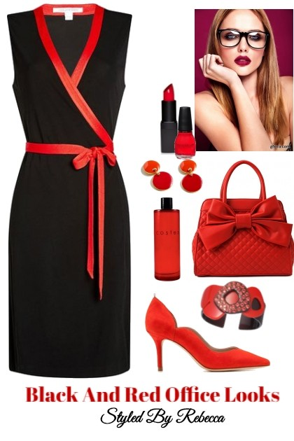 Black And Red Office Style- Fashion set