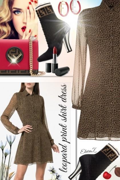 Leopard print shirt dress - Fashion set