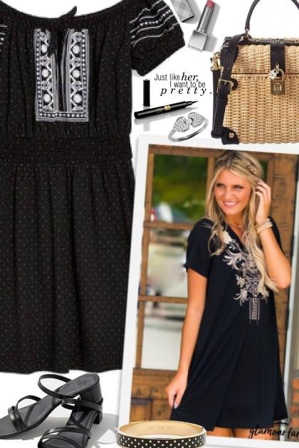 Embroidered Dress - combinação de moda