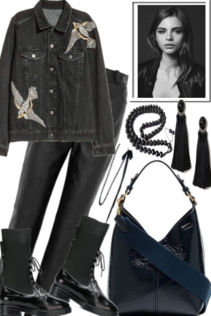 BLACK, LEATHER AND JEANS- Fashion set