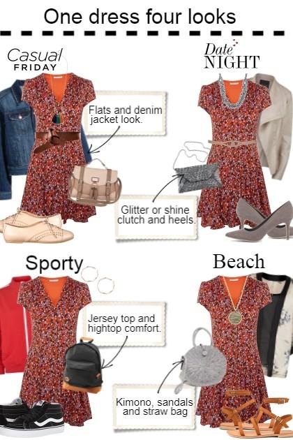 One dress 4 looks- Modna kombinacija