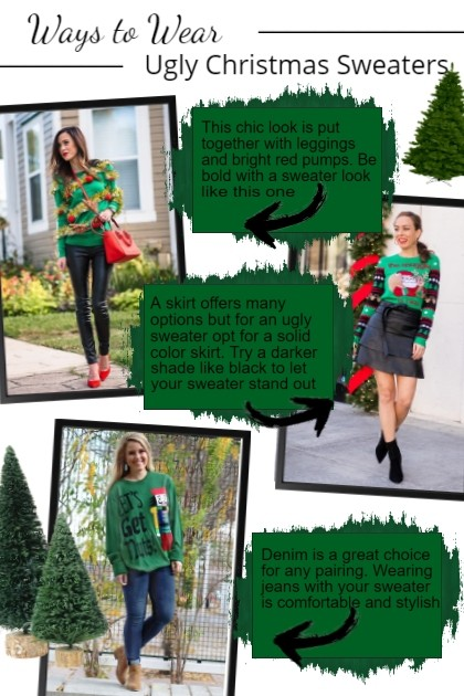 Ways to wear Ugly Christmas Sweaters- Combinaciónde moda