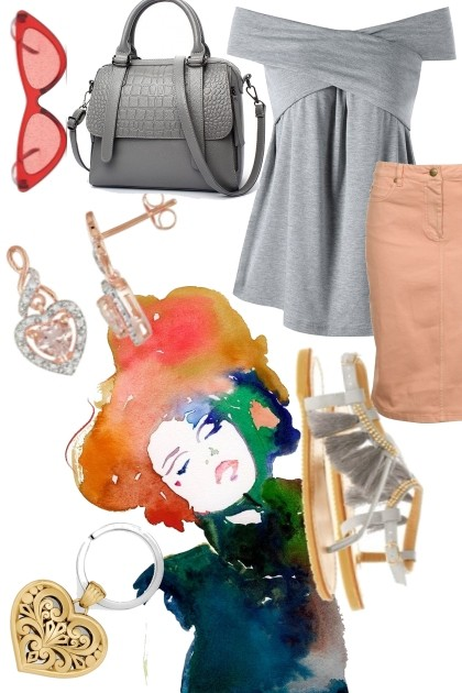 GRAY AND ORANGE- Fashion set