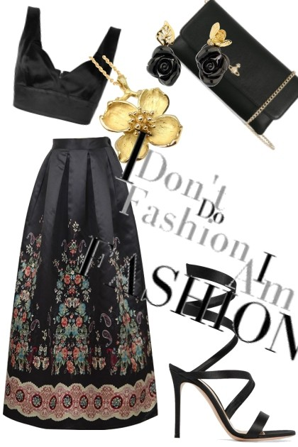 Black flowers and Maxi skirt- Fashion set