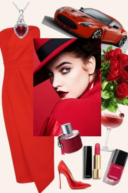She likes everything red- Modna kombinacija