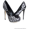 モノクロレースパンプス - Shoes -