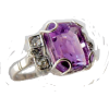 18k White Gold Amethyst and Diamonds Rin - Rings - $1,250.00