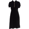 1930s Silk Velvet Bias Cocktail Dress - sukienki -