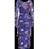 (2) Mesh Overlay Floral Midi Dress - Dresses -