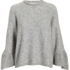3.1 PHILLIP LIM Ruffle Sleeve Grey Sweat - Pullovers -