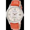 AK Anne Klein Women's 10/9925MPOR Leather Silver-Tone Orange Patent Leather Strap Watch - 手表 - $65.00  ~ ¥435.52