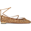 AQUAZZURA Kya Embroidered Ankle-Tie Flat - Balerinki -