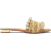 AQUAZZURA Woven pompom-trim raffia slide - Sandale -