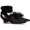 ATTICO black feather embellished 45 velv - Chinelas -