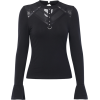 All-match T-shirt female trumpet long-sleeved dark sexy perspective mesh stitchi - Shirts - $25.99