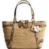 Coach Limited Edition Straw Natalie Shopper Bag Tote Natural Python Embossed Trim - Coach 16839NAT - Bag - $239.00
