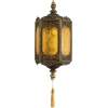Amber Glass and Brass Hanging Lamp - Lights -