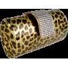 Animal Print Rhinestone Closure Hard Case Baguette Evening Clutch Purse w/Detachable Chain Gold - Clutch bags - $29.99