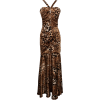 Animal Print Satin Halter Gown with Crystal Pin Junior Plus Gold - Vestidos - $97.99  ~ 84.16€