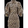 Animal Print Puff Sleeve Dress - Dresses -