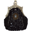 Antique Victorian Applique Plated Brooch Beaded Clasp Purse Clutch Evening Handbag w/2 Detachable Chains Black - Torby z klamrą - $27.92  ~ 23.98€