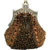 Antique Victorian Applique Plated Brooch Beaded Clasp Purse Clutch Evening Handbag w/2 Detachable Chains Brown - Torby z klamrą - $27.92  ~ 23.98€