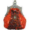 Antique Victorian Applique Plated Brooch Beaded Clasp Purse Clutch Evening Handbag w/2 Detachable Chains Red - Clutch bags - $29.50