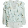 Arleyne Mint Floral Ruffle Blouse - Koszule - długie -