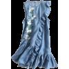 Asymmetric Ruffled Embroidered Denim Dre - Dresses -