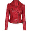 Asymmetrical Bikers Womens Red Leather Jacket - Giacce e capotti - 223.00€