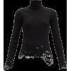 BALENCIAGA Roll-neck distressed ribbed v - Pullovers -