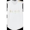 BALMAIN Button-embellished printed tank - Tanks -