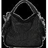 BENOITE Rhinestones Embellished Soft Leatherette Hobo Satchel Handbag Purse Convertible Shoulder Tote Bag Black - Torebki - $27.50  ~ 23.62€