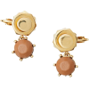 BURBERRY Leather Charm Gold-plated Nut a - Earrings -