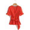 BUTTERFLY SLEEVE POLKA DOT CHIFFON BLOUS - Shirts - $22.97