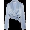 Baby Blue Silk Top - Long sleeves shirts -