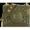 Balmain Dark green quilted leather B-bag - Messaggero borse -