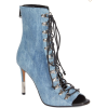 Balmain-Denim Lace up Peep toe booties - Buty wysokie -