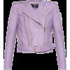 Balmain Leather Biker Jacket Purple - Jakne i kaputi -