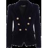 Balmain Navy Blue Velvet Blazer - Jacket - coats -