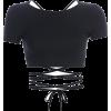 Basic halter strap short-sleeved T-shirt - Shirts - $17.99
