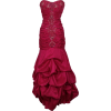 Beaded Embroidered Taffeta Long Gown Prom Holiday Dress Fuchsia - Dresses - $154.99